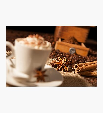 Close-up on star anise and cinnamon sticks with coffee cup Photographic Print