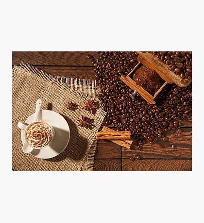 Coffee cup, star anise, cinnamon sticks and coffee beans Photographic Print