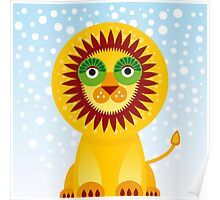 Funny cartoon lion and sky background.  Poster
