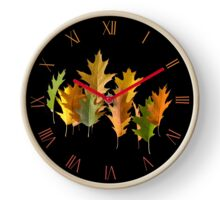 Various autumn oak leaves levitating Clock