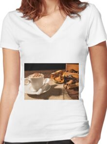 Close-up of coffee cup, dried orange fruit and cinnamon sticks Women's Fitted V-Neck T-Shirt