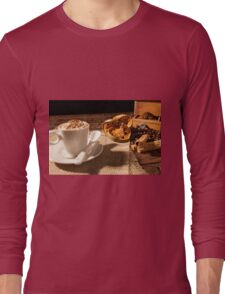 Close-up of coffee cup, dried orange fruit and cinnamon sticks Long Sleeve T-Shirt