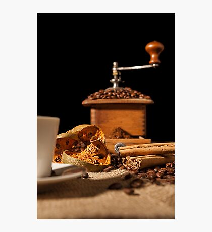 Close-up on dried orange fruit and cinnamon and coffee beans Photographic Print
