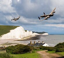 Nine Sisters - Lancasters over the south coast by Gary Eason + Flight Artworks