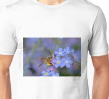 Bee and Forget Me Not Flowers Unisex T-Shirt