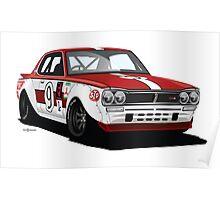 "1972 Nissan GTR ""Hakosuka"" Vintage Racer Poster"