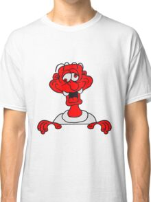 verwirrt rahmen text kopf wand crazy comic cartoon gesicht lachen verrückt lustig logo design dumm komisch  Classic T-Shirt