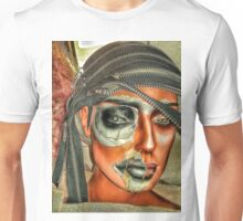 Punk collage woman in red. Unisex T-Shirt