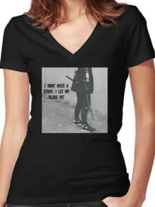 I let my blade hit- X Women's Fitted V-Neck T-Shirt