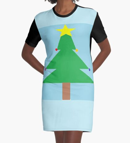 Christmas Tree with Ornaments Graphic T-Shirt Dress