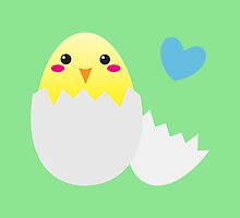 Cute Easter chick with love heart by jazzydevil
