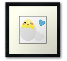 Cute Easter chick with love heart Framed Print