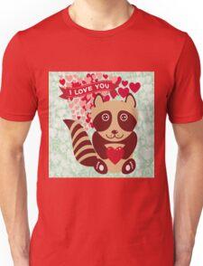 cartoon raccoon. I love You.  Unisex T-Shirt