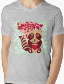 cartoon raccoon. I love You.  Mens V-Neck T-Shirt
