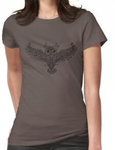 Owl Trace b&w Womens Fitted T-Shirt