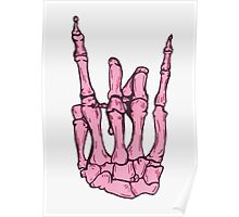 Skeleton hand | Pink Poster