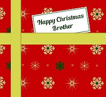 Brother red Christmas parcel card by julesdesigns