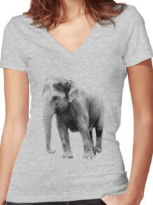 Indian Elephant. Wildlife Digital Engraving Image Women's Fitted V-Neck T-Shirt