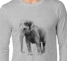 Indian Elephant. Wildlife Digital Engraving Image Long Sleeve T-Shirt