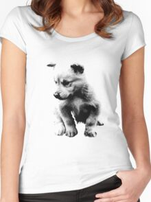 Sad Face Puppy Dog Digital Engraving Women's Fitted Scoop T-Shirt