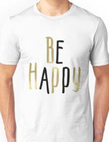 Be Happy Gold Black Daisy Flowers Unisex T-Shirt
