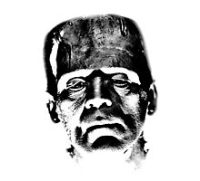 Frankenstein's Monster. Spooky Halloween Digital Engraving Image Photographic Print