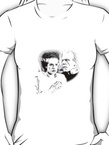 Frankenstein's Monster and Bride of Frankenstein. Spooky Halloween Digital Engraving Image T-Shirt
