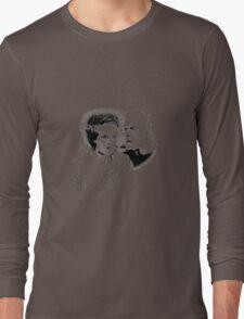 Frankenstein's Monster and Bride of Frankenstein. Spooky Halloween Digital Engraving Image Long Sleeve T-Shirt