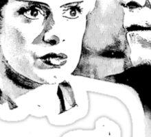 Frankenstein's Monster and Bride of Frankenstein. Spooky Halloween Digital Engraving Image Sticker