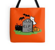 Headstone with Spooky Cats Tote Bag