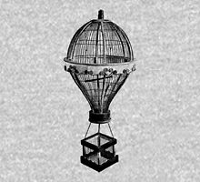 Hot Air Balloon Antique Vintage Birdcage. Antique Digital Engraving Vintage Image. Unisex T-Shirt