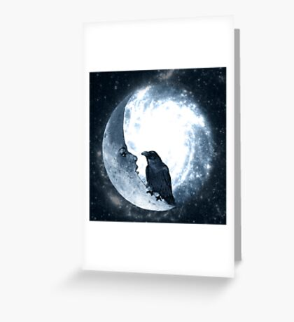 The Crow And Its Moon  Greeting Card