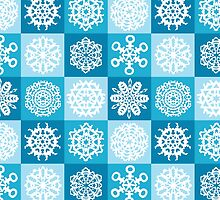 Checkered Snowflakes by lawleypop