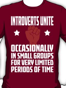Introverts Unite - Occasionally In Small Groups For Very Limited Periods Of Time - Funny Social Anxiety T Shirt T-Shirt