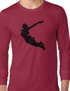 LARA CROFT SILHOUETTE SWAN DIVE (Tomb Raider Legend) Long Sleeve T-Shirt