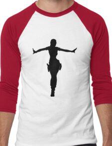 LARA CROFT SILHOUETTE CROFT MANOR (Tomb Raider Legend) Men's Baseball ¾ T-Shirt