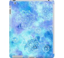 Snowflower Burst - Snowflakes on Blue iPad Case/Skin