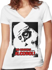 NO COOKIES . . . ALCOHOL Women's Fitted V-Neck T-Shirt