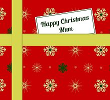 Mum red Christmas parcel card by julesdesigns