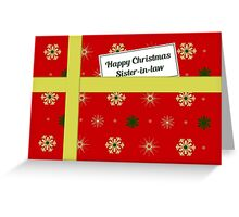Sister-in-law red Christmas parcel card Greeting Card