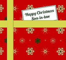 Son-in-law red Christmas parcel card by julesdesigns