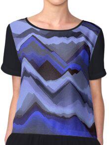 Sand - Black/Blue Patterned Chiffon Top