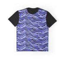 Sand - Black/Blue Patterned Graphic T-Shirt