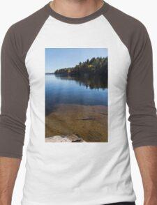 Golden Ripples Bedrock - Fall Mood Reflection   Men's Baseball ¾ T-Shirt