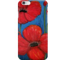 Red Poppies On Blue iPhone Case/Skin