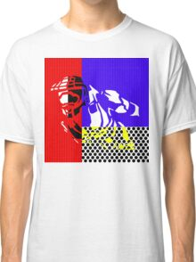 Contemporary Master Chief - Halo, Gamer, Gaming, Pop Art, Lichtenstein, Inspired, Red, Blue, White, Yellow, Black, Dots, Stripes, Modern, Primary Colors, Fresh Classic T-Shirt
