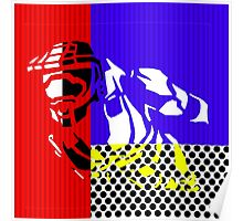 Contemporary Master Chief - Halo, Gamer, Gaming, Pop Art, Lichtenstein, Inspired, Red, Blue, White, Yellow, Black, Dots, Stripes, Modern, Primary Colors, Fresh Poster