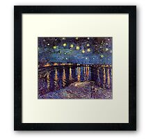 Starry Night over the Rhone, Vincent van Gogh. Framed Print