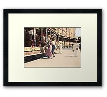 Mother helps her child off trolley in NYC — Colorized Framed Print