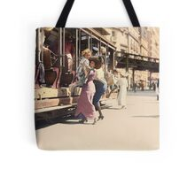 Mother helps her child off trolley in NYC — Colorized Tote Bag